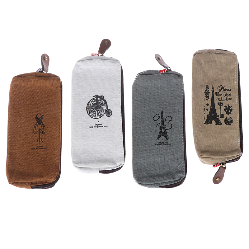 1pc Retro Towers Linen Pencil Bag Students Paris Style Pencil Cases Stationery Material Escolar Office Supplies