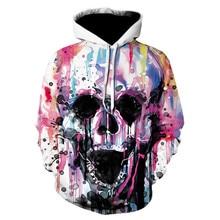 3XL Plus Size Men Clothing Halloween Hoodies Autumn Winter Long Sleeve Hooded Loose Sweatshirts Skull 3D Print Sports