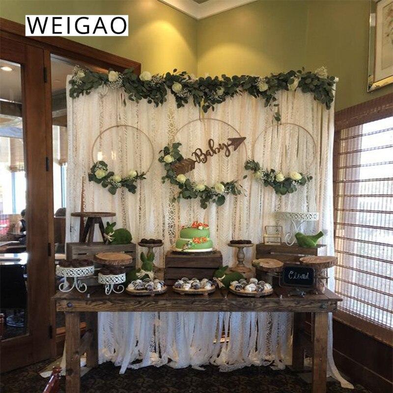 WEIGAO 1pcs Baby Shower Metal Ring Wreath Garland Bride Flower Catcher Hoop Garland Wreath Christmas Wedding Decoration for home