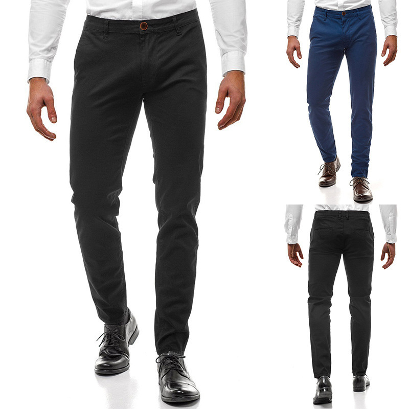 2019 Autumn Hot Selling Men New Style Fashion Solid Color Straight-Cut Casual Trousers