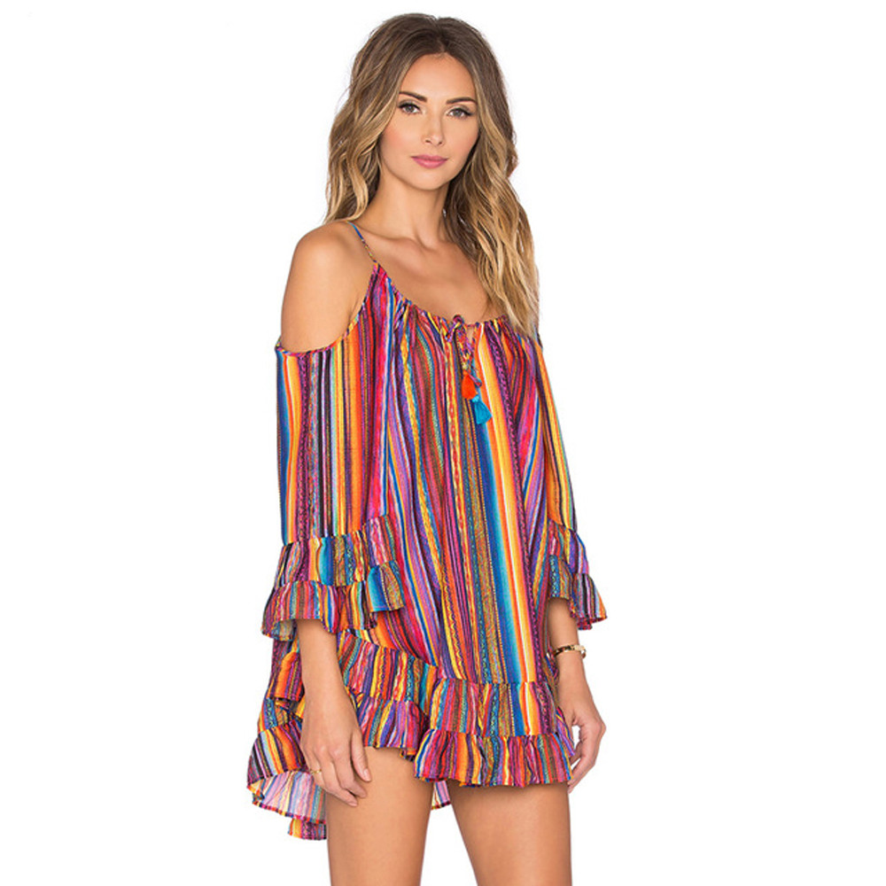 vestido de mujer Women s Summer Rainbow Print Fringed Beach Dress Loose Chiffon Strap Dress femme