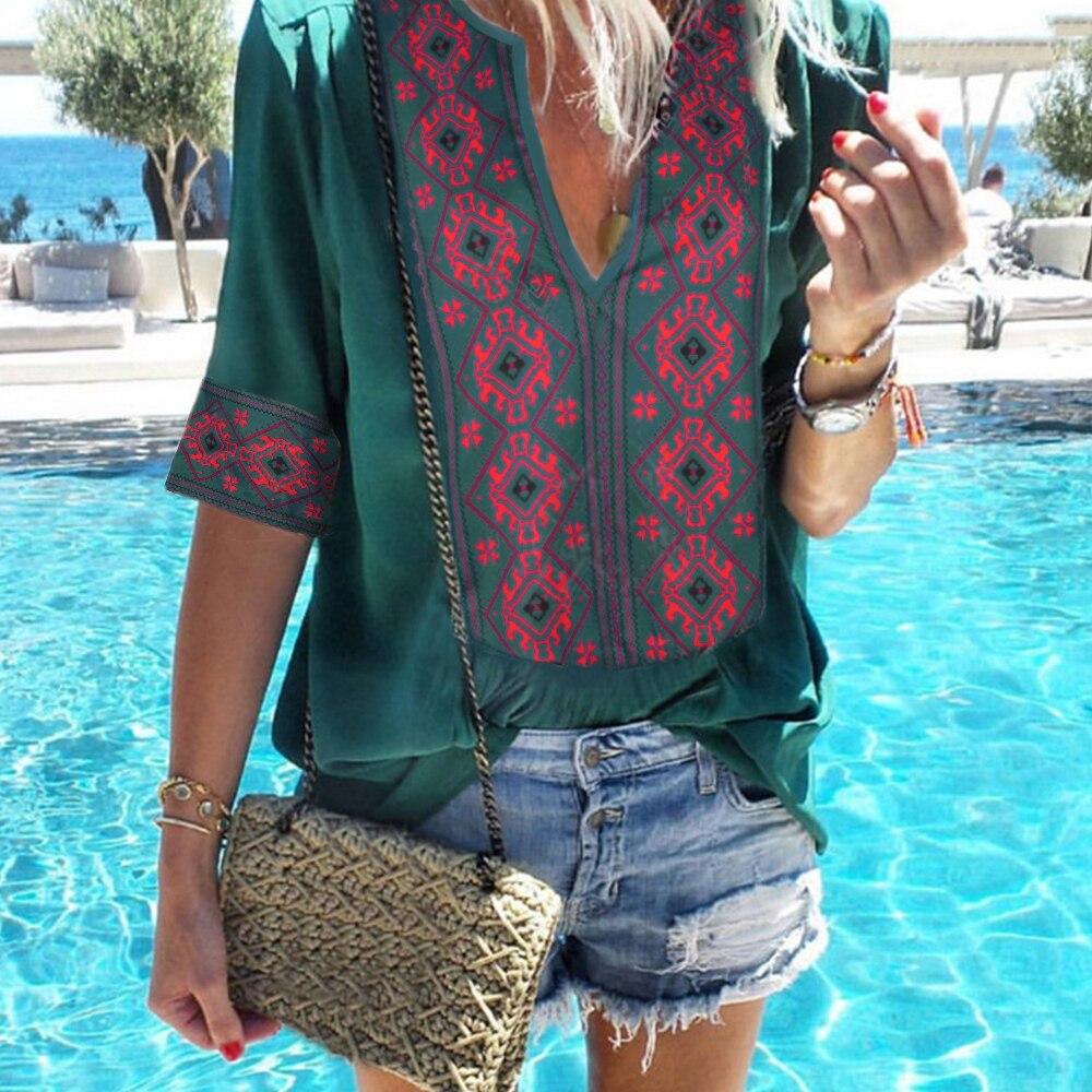 CALOFE Summer Bohemian   Blouses   Top Women   Shirt   Tunics Female Cotton Loose Thin   Blouse   Boho Print Half Sleeve Blusas Plus Size