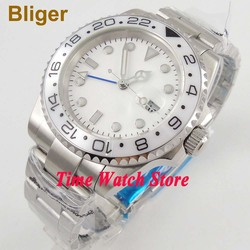 40mm Bliger GMT 3804 automatyczny męski zegarek biały strile dial luminous szafirowe szkło biała ceramiczna ramka szkiełka zegarka okno daty 184|Zegarki mechaniczne|Zegarki -