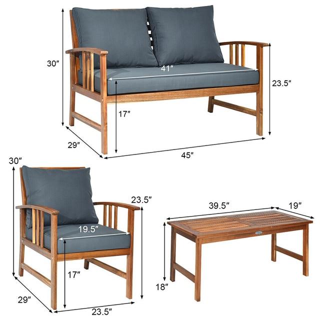 4 Pcs Wooden Patio Furniture Set  6