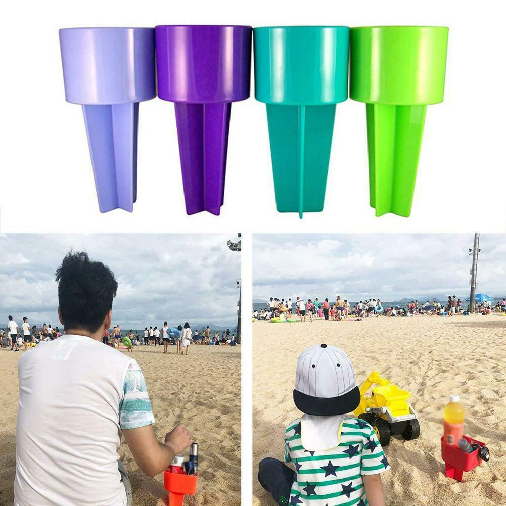 2 Pcs Beach Cup Holder Plastic Drink Stand Durable Sand Spike Portable For Outdoor BJStore