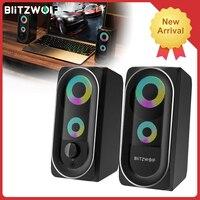 BlitzWolf-altavoz estéreo BW-GT1 con graves potentes para juegos de ordenador, Mini altavoces con conexión USB AUX, luz RGB, 360
