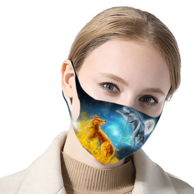 3d Print Wolf Anti Haze Dust Washable Reusable Double Layer Dustproof Winter Wolf Mask Mouth Antiviral Mouth Mask 4