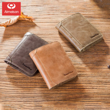 Tri-fold  short section men's soft leather youth tide anti-theft brush anti-NFC large-capacity card bag new wallet ASBD035