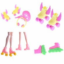 4PCS/Set Roller Skate Fancy Doll Shoes+headset+helmet Toy Roller Play Accessories Dolls Decorative Toy For Babi Kids Girls(China)