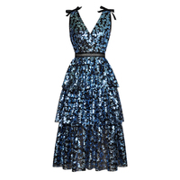 GoodliShowsi High Quality Summer Party Sequin Sleeveless Dress Women's Sexy V Neck Backless Tiered Ruffles Cake Dress Vestdios