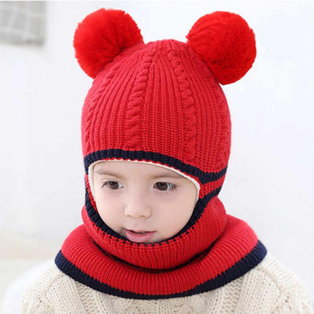 Venta caliente niños caliente babero bebé sombrero de punto Niño niños bebé niña Pompon sombrero invierno cálido tejido Crochet beanie Cap bufanda