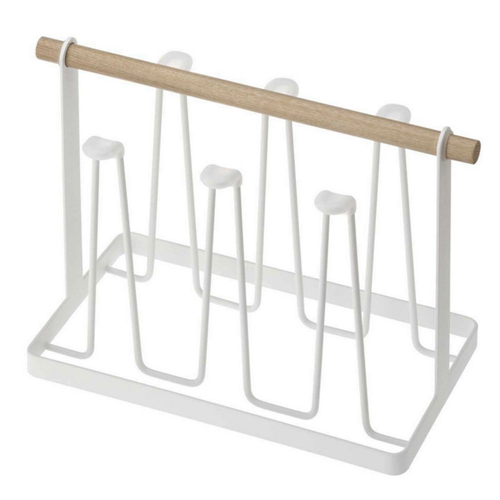 With 6 Hook Mug Rack Storage Rack Wood Drain Stand Organizer Coffee Cups Metal Drain Hanger Storage Hanging Cup Holder Dustproof