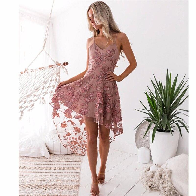 Summer 2019 Sleeveless Deep V-Neck Women Dress Sexy Print Spagheitti Strap Lace Dress Sling Irregular Lace Stitching Party Dress