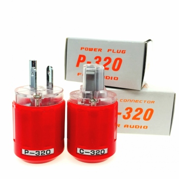 Oyaide P-320/C-320 Rhodium Plated Copper US AC Power Plug Ver IEC Connector Red transparent DIY HIFI