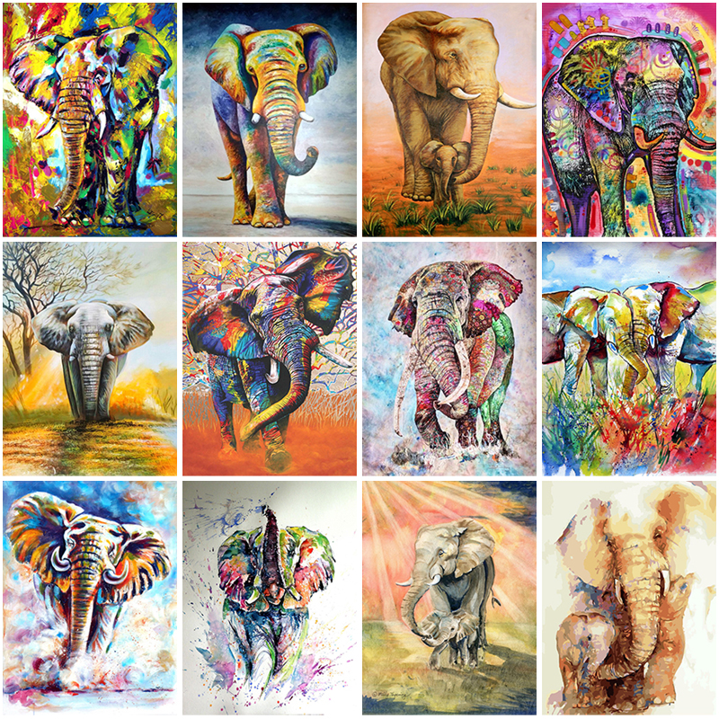 Купить diy 5d diamond painting color elephant embroidery animal cross