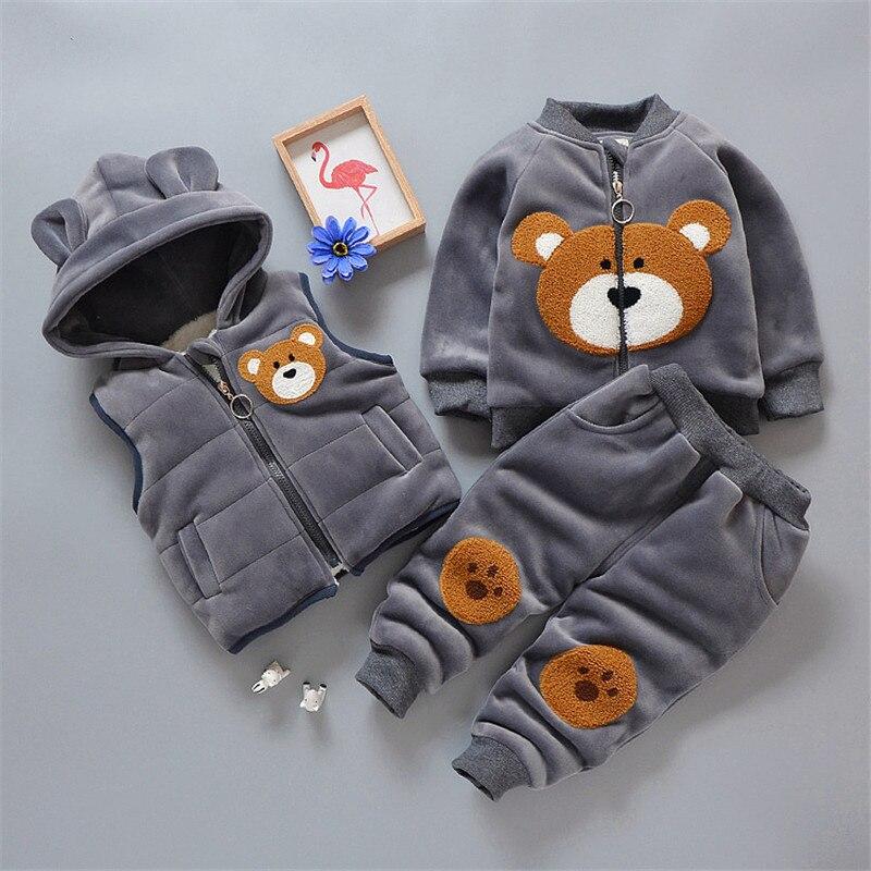 Одежда для новорожденных девочек Зимний толстый жилет с героями мультфильмов, толстовка и штаны комплект одежды из 3 предметов для маленьких мальчиков, детская одежда, спортивный костюм
