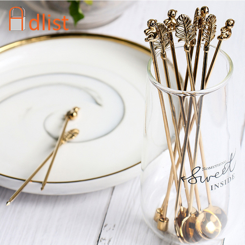 5pcs Gold  Stainless Steel Coffee Spoon set Long Handle Ice Cream Dessert  Stir Spoons Sliver Fruit  Fork Creative Bar Utensils