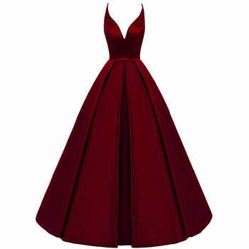 2020 Spaghetti Straps Cross Back Burgundy Bridesmaid Dresses Long A Line V-Neck Satin Prom Formal Wedding Party Dresses sexy satin v neck cross front straps playsuits in pink