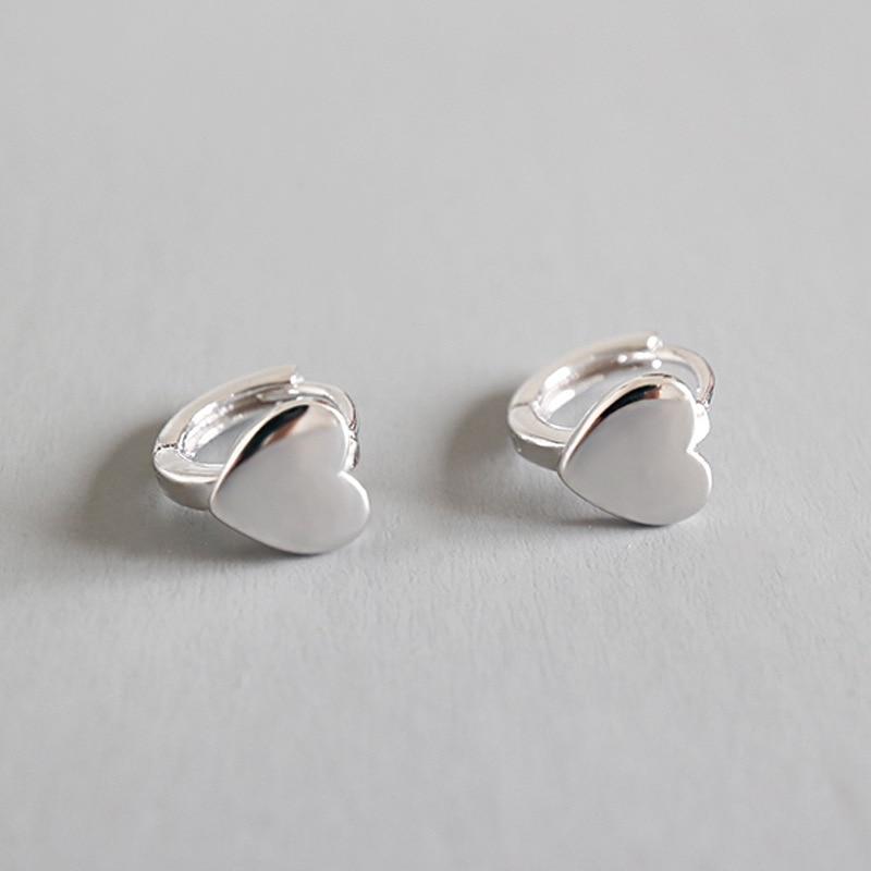 Sterling Silver Heart Shape Clip on Hoop Earrings