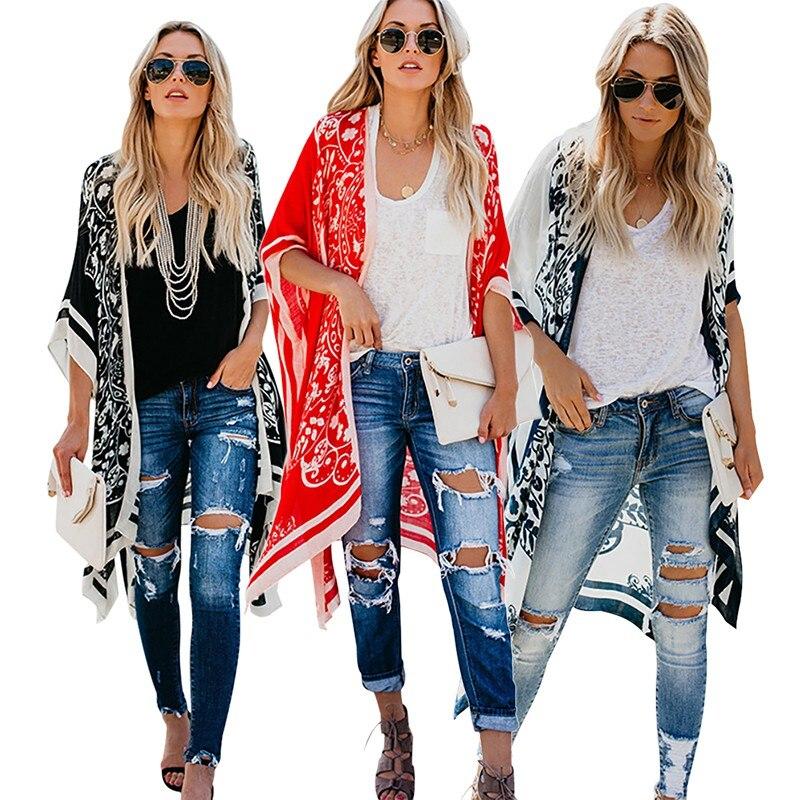 Blouses Woman 2020 Beach Style Cardigan Kimono Ladies Digital Print Summer Fashion Sunscreen Shirts V-Neck Casual Half Sleeve