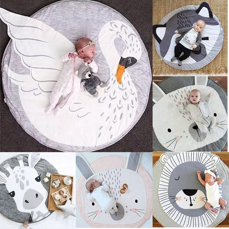 Kidlove Cute Baby Infant Crawling Activity Pad Round Kids Crawling Carpet Rabbit Blanket Cotton Pad Children Room Decor