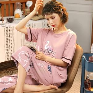 Image 3 - M 5XL Cotton Women Pajamas Sets Cute Animal Girls Sleepwear Womens Pijamas Suit Home Clothes Larger Pyjama Femme