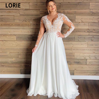 LORIE Full Sleeve Lace Wedding Dresses Beach Illusion Appliques Boho Bridal Gown V-neck Chiffon lorie champagne tulle wedding dresses beach boho lace appliques bridal gown o neck illusion short sleeve vintage wedding gowns