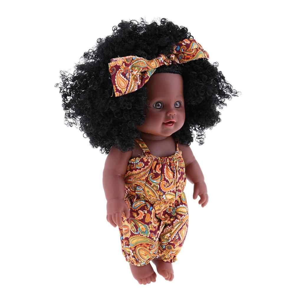 """חיים אמיתיים Reborn 12 """"תינוקת בובה-שחור עור, שחור מתולתל שיער ילדים מתנה"""