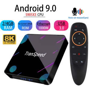 Transpeed X3 Plus Android 9,0 tv Box 4K 8K 4GB 128G Amlogic S905X3 32G 64G Bluetooth 1000M wifi 1000M Ethernet голосовой помощник