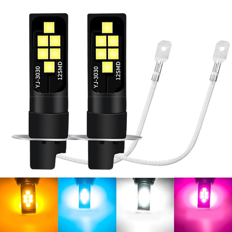 2pcs Led H3 Bulb Car Fog Lights High Power Lamp 3030 12SMD Car Running Lights Led Bulbs Car Light 12V 6000K White Yellow Amber