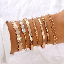 Bohemian Bracelets& Bangles Set Gold Bead Charm Bracelet For Women Rhinestone Crystal Bracelet Pulseras Mujer Bijoux Femme