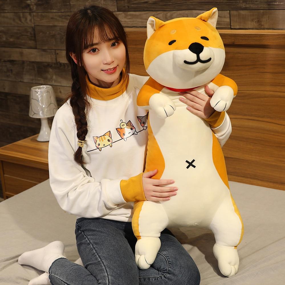 60-120cm Cute Shiba Inu Dog & Cat Plush Toys Stuffed Long Animals Sleep Boyfriend Pillow Doll Office Cushion Kids Girls Gift