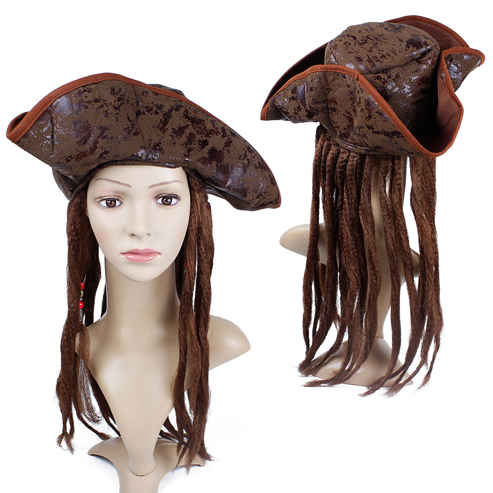 Halloween Costume For Men Adult Pirate Captain Jack Sparrow Wigs Hat Pirates Of The Caribbean Cosplay Accessories Female Male