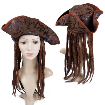 цена на halloween costume for men adult pirate captain jack sparrow wigs hat pirates of the caribbean cosplay Accessories female male