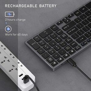 Image 4 - Jelly Comb Bluetooth клавиатура для iPad, планшета, ноутбука, совместима с IOS, Windows, металлическая перезаряжаемая клавиатура AZERT, Франция/Россия