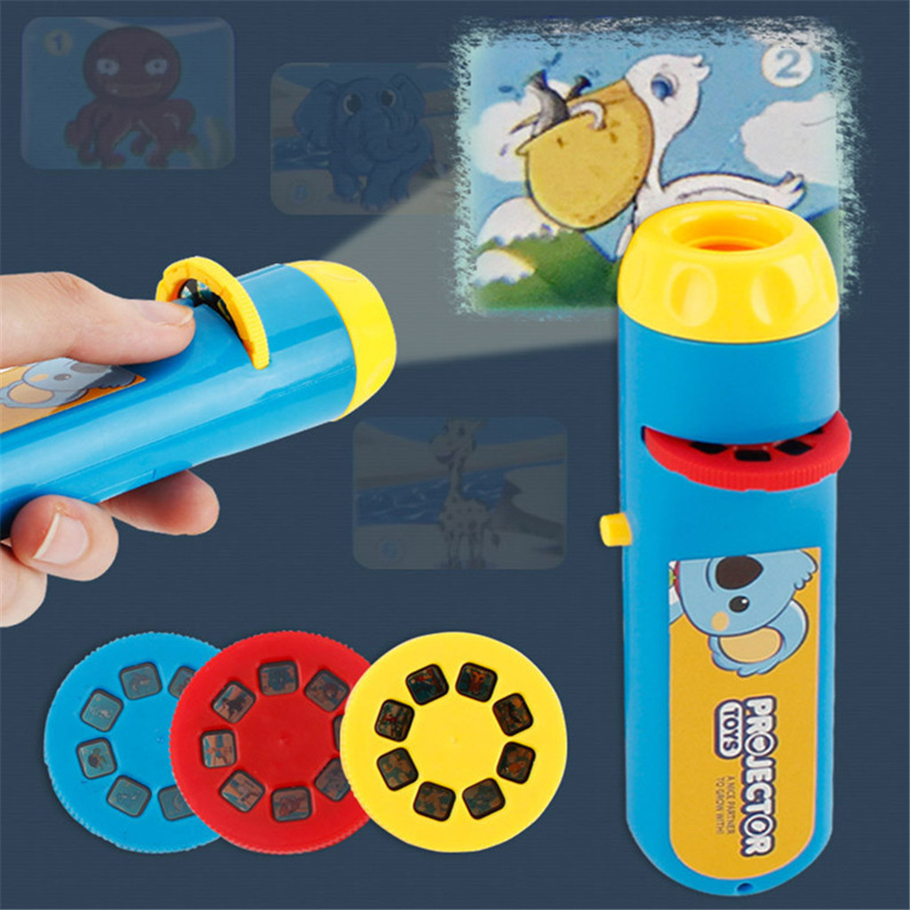 Baby Sleeping Storytelling Flashlight Projector Slide Toy Kids Night Bedtime Story Early Education Toy Child Sleep Light Lamp