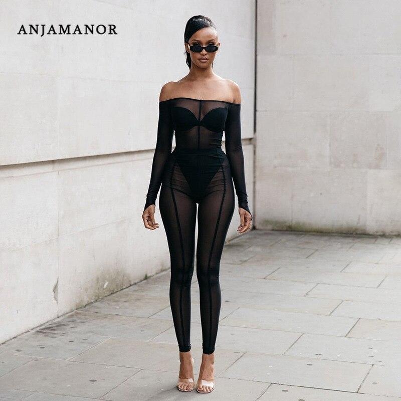 ANJAMANOR Transparent Mesh Black Sexy 2 Piece Set Women Off Shoulder Long Sleeve Bodysuit Leggings Full Outfits Clubwear D87AA44