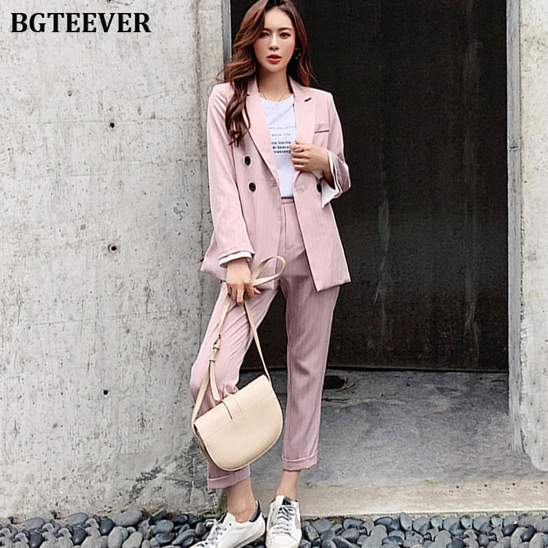 BGTEEVER Elegant Striped Women Blazer Suit Set Long Flare Sleeve Women Pant Suits Workwear 2 Pieces Set Female Trouser Suit 2019