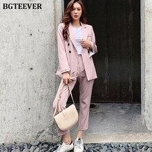 BGTEEVER Elegant Striped Women Blazer Suit Set Long Flare Sl