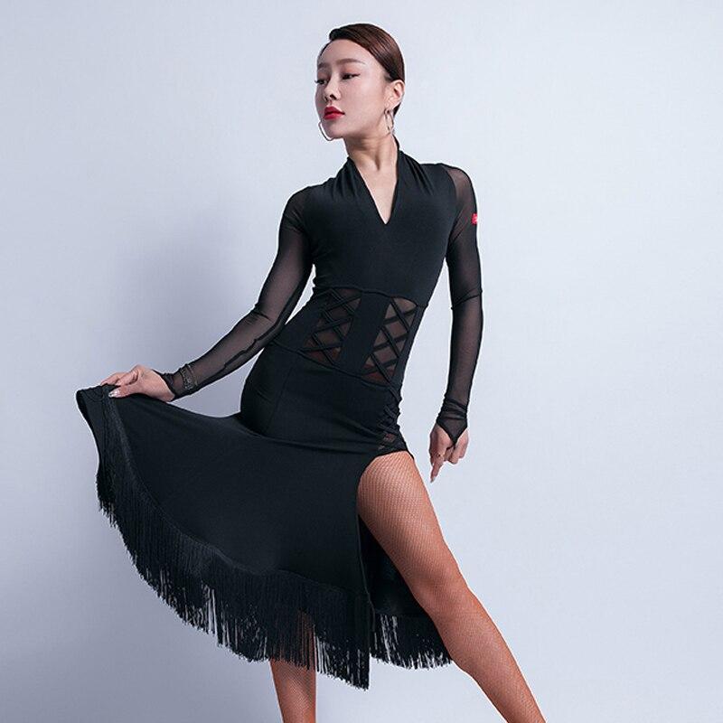 New Latin Dance Dress For Women Long Sleeve Sexy Fringe Costumes Autumn And Winter Long Latin Dance Robe Tango Dancewear VO145
