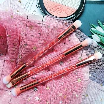 Makeup Brushes Cosmetic 1 Pcs Eyeshadow Brush Pink Eye Makeup Brush Double-head Short Rod Eye Shadow Beauty Tool Make Up Brushes недорого