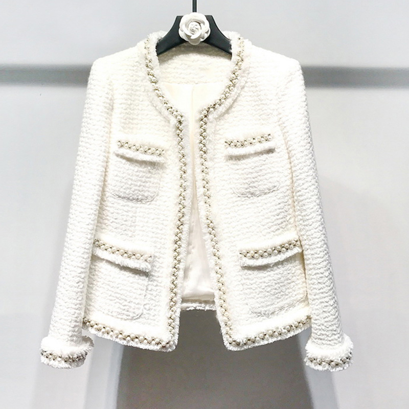 Blanc tweed femmes veste fait à la main perles printemps/automne/hiver manteau de laine nouvelle laine classique veste dames