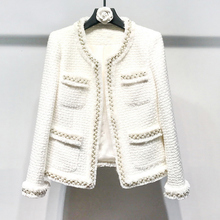 Woolen Coat Women Jacket Classic White Tweed Autumn/winter Beads Hand-Made New