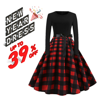 RICORIT Women Christmas Dress Swing Elegant Women Print Dress Party Dresses Long Sleeve Dress Vintage Women Dress Robe Plus Size 1