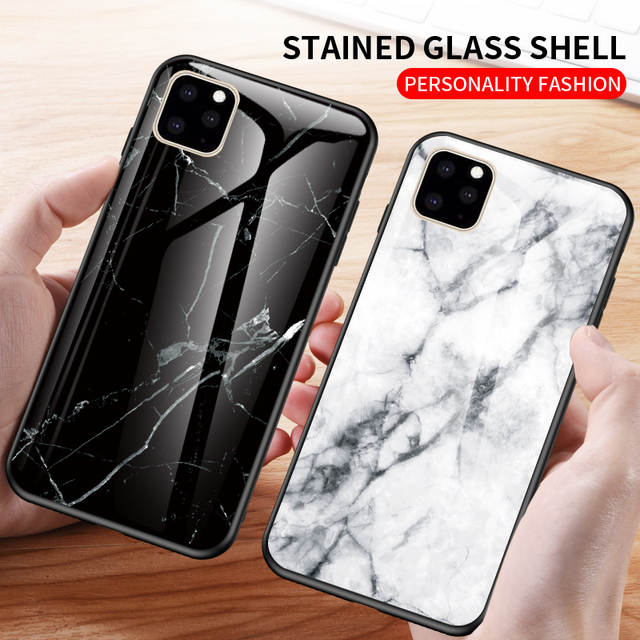 KEYSION Marble Tempered Glass Case for iPhone 11/11 Pro/11 Pro Max 1