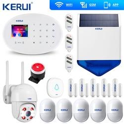 KERUI W20 WIFI Alarm GSM System alarmowy w domu zestaw bezpieczeństwa kamera zewnętrzna pilot syreny słonecznej Keyb