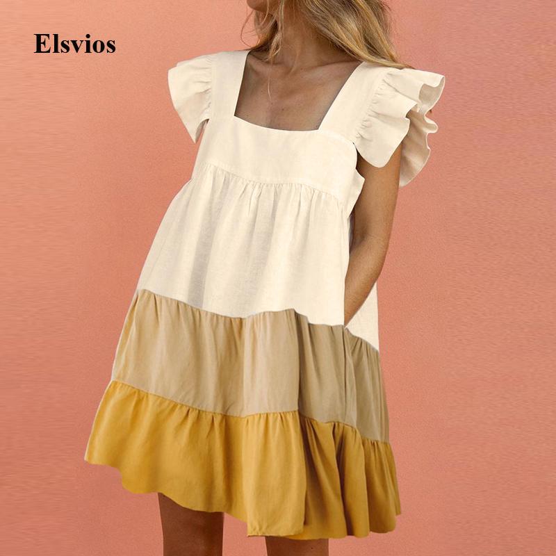 Elegant Butterfly Sleeve Ruffle Mini Dress Casual Square Collar Print Party Dress Women Summer Loose Pocket Beach Dress Vestidos