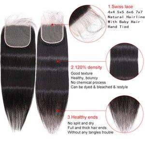 Image 5 - Cabelo reto fechamento do laço marrom 4*4 5*5 7*7 fechamento do laço brasileiro remy do cabelo humano pré arrancado com o cabelo do bebê silkswan