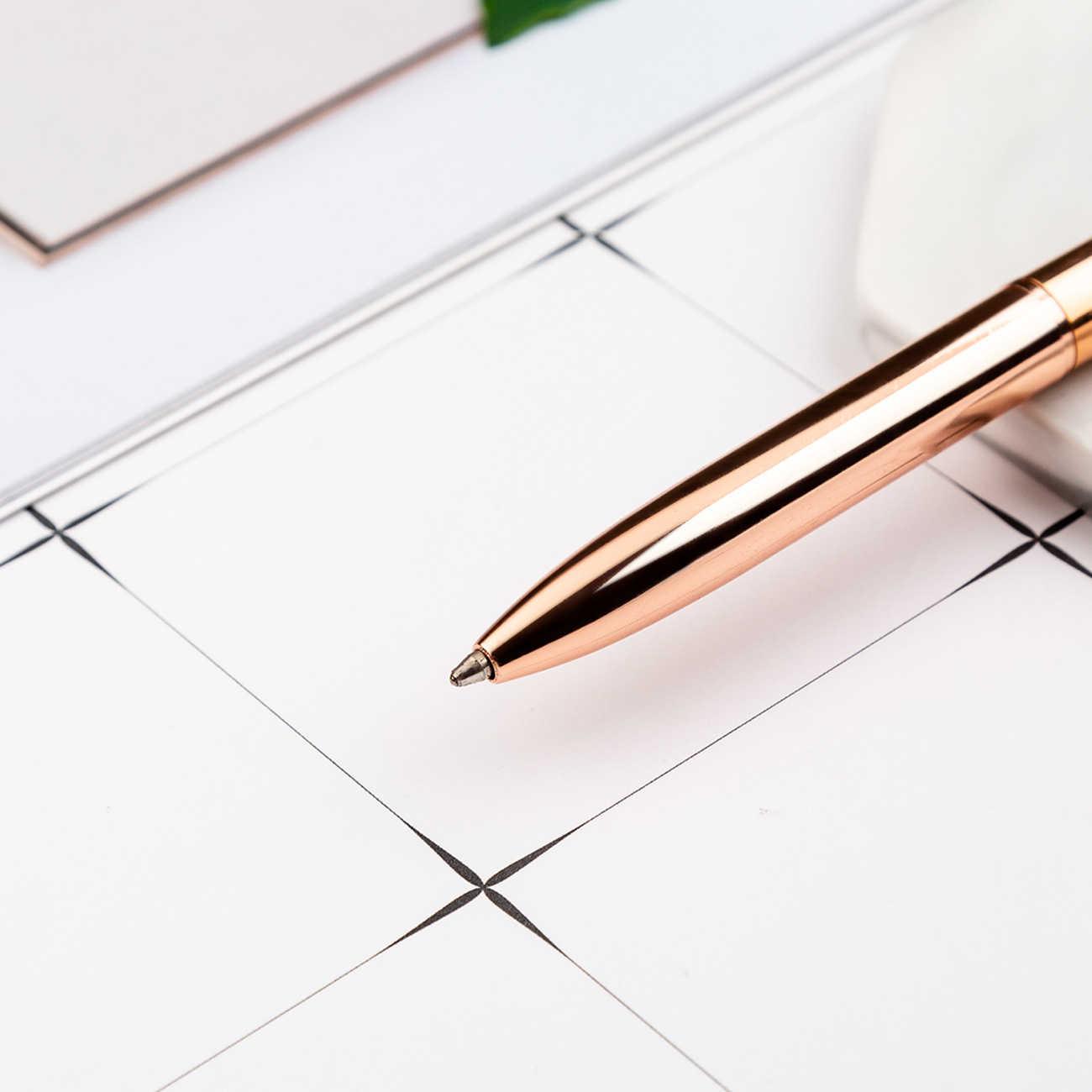 1 szt. Szklany motyl szkolny długopis 1 mm punkt kulkowy długopis metalowy zapasowy czarny długopis dla ucznia różowe złoto biurowe