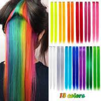 Reine moderne 10 pièces/lot synthétique longue pince unique en une pièce Extensions de cheveux 20cm couleur arc-en-ciel postiche droite pour les femmes